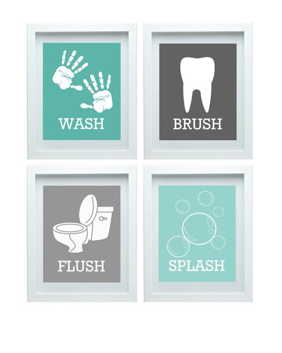 Bathroom Rules Boys Or Girls Bathroom Wall Art Aqua Grey Bathroom Decor Bathroom Art Set Of