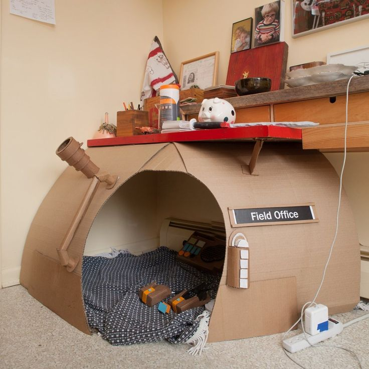 "Creative use of cardboard: a DIY ""Field Station"" hideout for kids."
