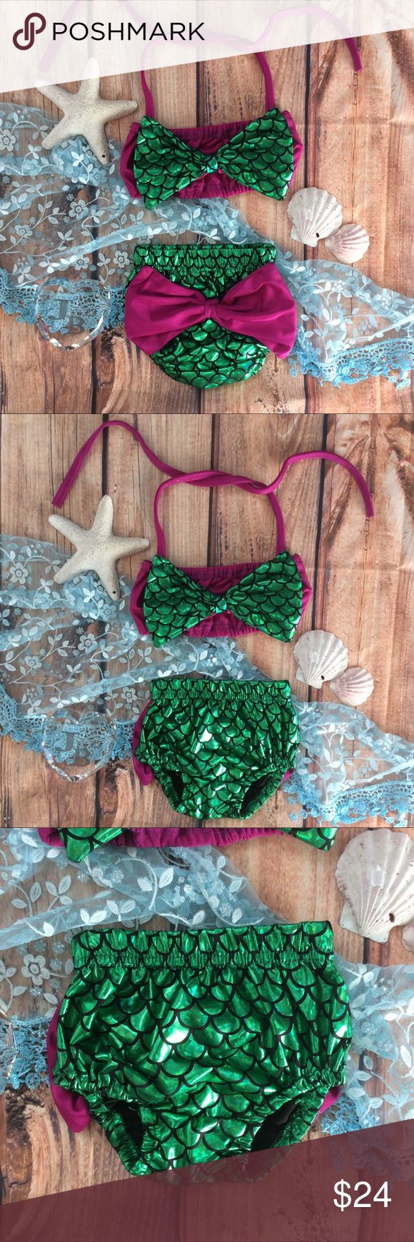 """Boutique Baby Girl 1st Mermaid Swm bikini Very cute baby's 1st Mermaid Swimsuit bikini design. Top has big green """"scale pattern"""" in front with fuchsia purple tube top style top with halter ties to adjust sizing from around the neck. Bloomers Tyler bikini bottoms made from matching green -""""mermaid scale"""" pattern. Big fuchsia big bow to backside. Very trendy Swimsuit this seasons! Swim Bikinis"""