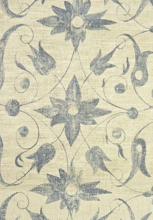 Saffron Walden Linen Fabric Neutral  loose weave Linen Fabric with floral scroll design in lead blue. Suitable for Curtains and Domestic Upholstery.