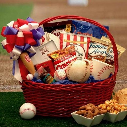 American Baseball Fanatics Gift Basket - Features keepsake themed baseball frame, mug, bank and more.