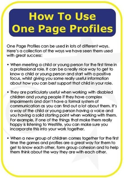 One Page Profiles and how to use them.