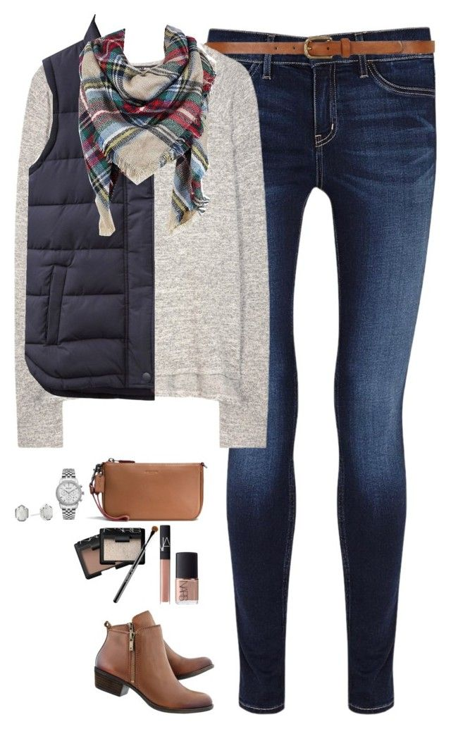 """Sweater, navy vest & plaid scarf"" by steffiestaffie on Polyvore featuring M.i.h Jeans, Dorothy Perkins, rag & bone, Joules, Lucky Brand, Sylvia Alexander, Ingersoll, Coach, Kendra Scott and NARS Cosmetics"