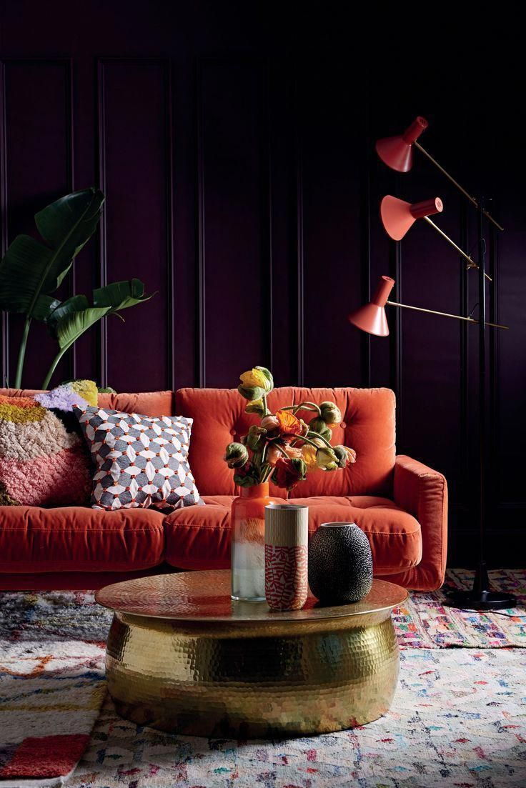 A Great Decorating Idea For Autumn This Burnt Orange Sofa Is The Focal Point Of The Room And Complements The Pa Orange Sofa Living Room Orange Autumn Interior