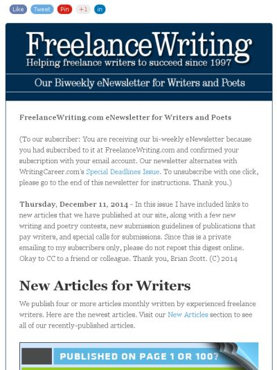 FreelanceWritingu0027s eNewsletter for Writers and Poets - guidelines freelance contract writing