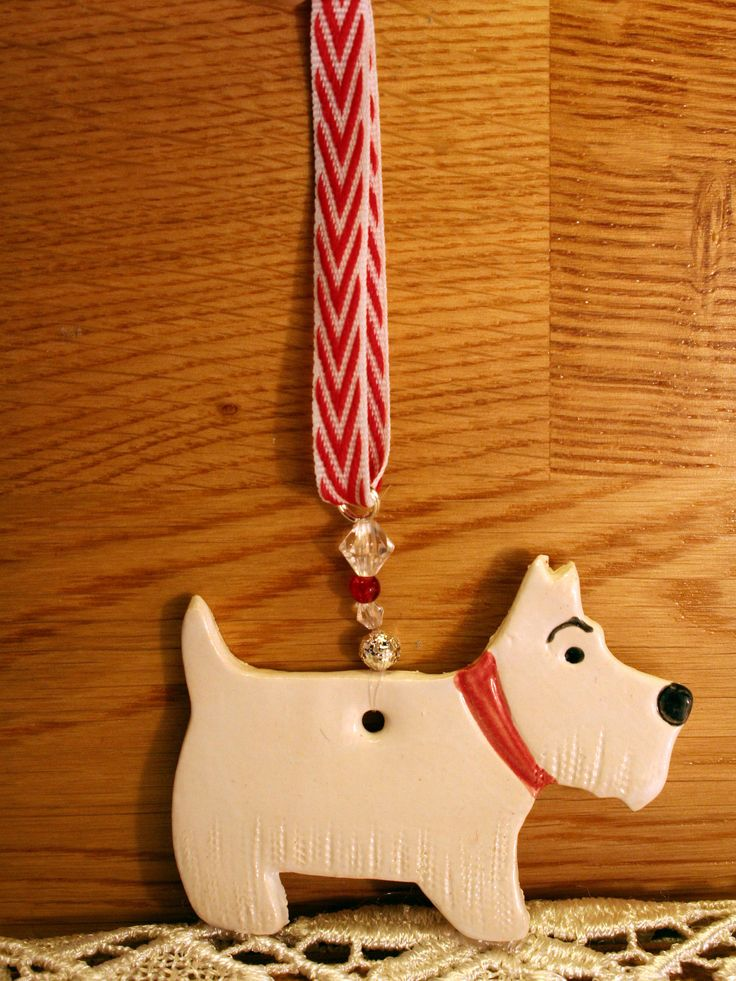 West Highland Terrier Dog, Fur Baby Pottery Hanging Decor, Pottery Pooch, a lovely gift for somebody who loves dogs to hang in their home. http://etsy.me/2DqZWCq #housewares #homedecor #white #christmas #red #birth #etsy #etsyshop #etsyseller #westie #terrier