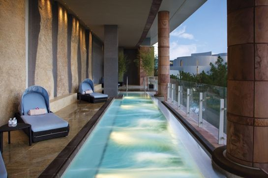 Where To Relax: The Spa & Salon At ARIA  The first order of business? Hit the slots and slap together the $30 it costs to gain entry into this impressive 80,000 square-foot oasis. Trust us, you'll be glad you did. Once inside, take advantage of the heated Japanese Ganbanyoku stone beds (the only ones in the country, might we add) that soothe muscles and eliminate toxins (i.e. massive quantities of caffeine consumed on the drive in) from the body.