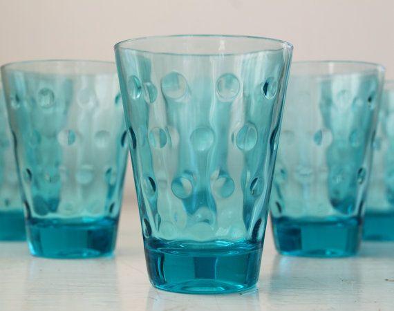 vintage turquoise drinking glasses