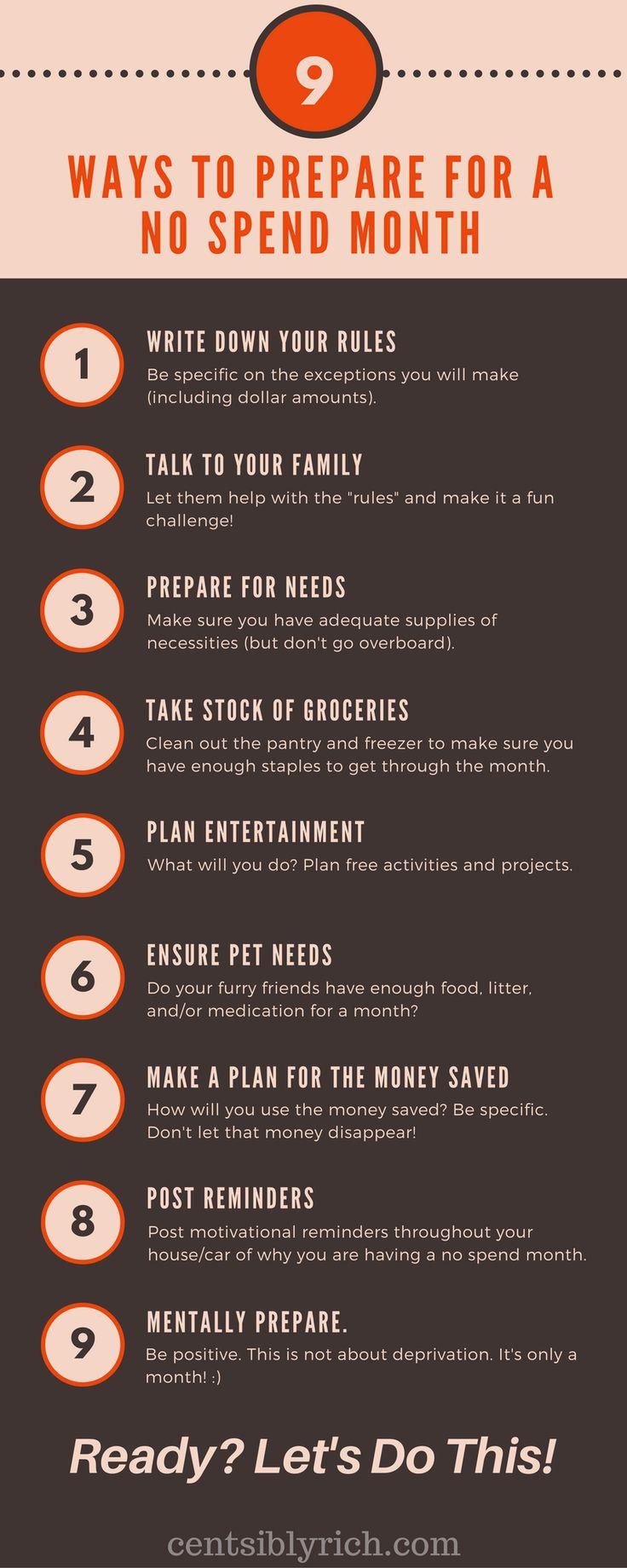 no spend month checklist