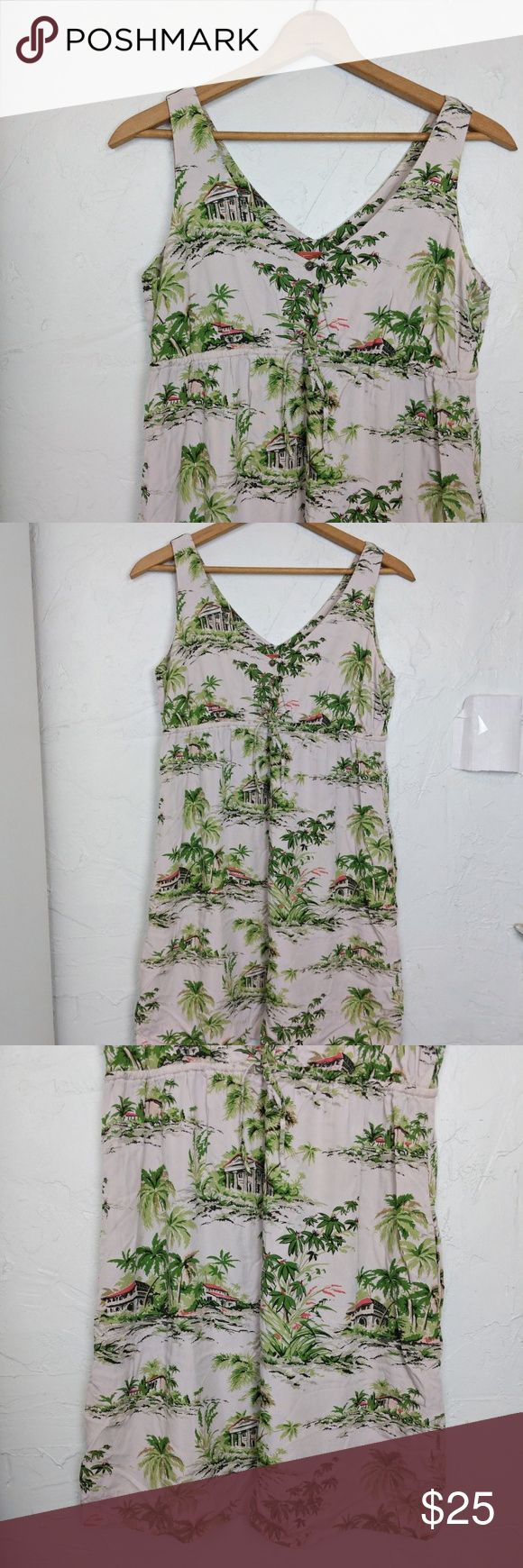 "Tommy Bahama Relax Tropical Hawaiian Print Dress Features a slight v-neck with three buttons, an adjustable drawstring waist, and a fun tropical print  Lightweight and perfect for summer or vacation!  100% rayon  Great used condition--no rips, stains, or tears  Length: ~34.5""  Bust (doubled): 36"" Tommy Bahama Dresses"