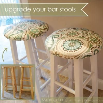 Upholstered Stool Tutorial {Ottoman and Stools}