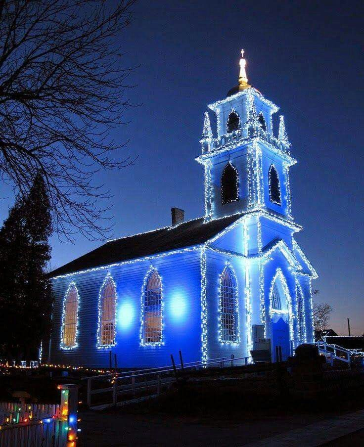 Blue Church at Christmas