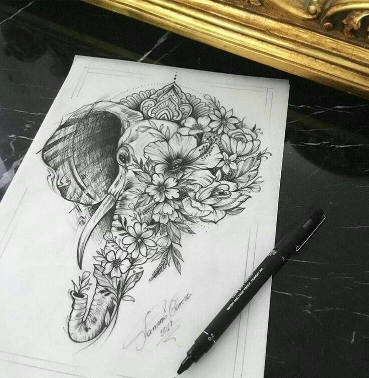 Elephant and Flower, Tattoo #Sleevetattoos – Sammy Jackson – #Flower #Elefant #Jackson #Sammy