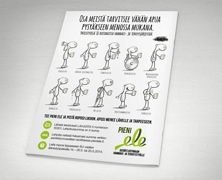 Pieni ele tekee yhteistyötä 18 suomalaisen vammais- ja terveysjärjestön kanssa. Hahmorepertuaaria esitellään ilmoitusaineistoissa. / Pieni ele