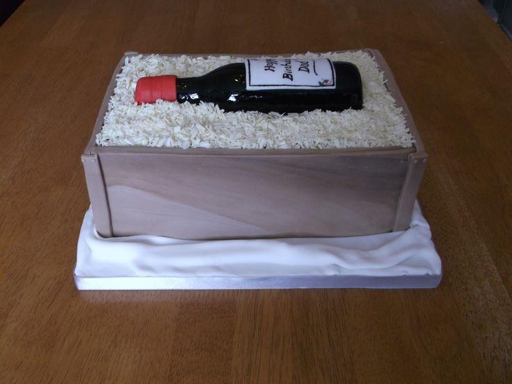 Wine bottle in a crate cake x www.facebook.com/fireflycakes