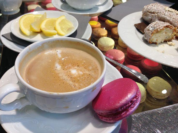 Giant Macaron, Eclair and a Cappuccino