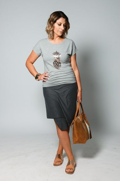 The Multi-way Wrap Grey endless styling options - a Skirt Marvellous Charlie