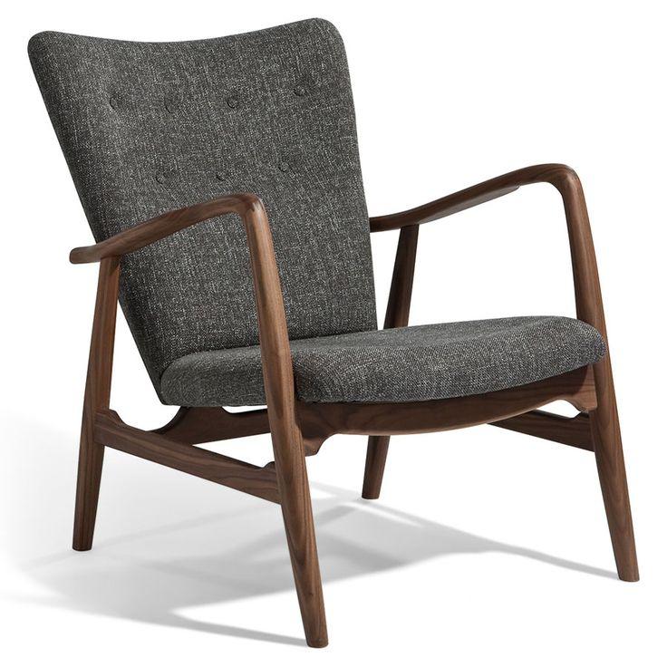 Adirondack Gray Fabric + Walnut Wood Mid Century Modern Arm Chair. Green  FurnitureClassic ...