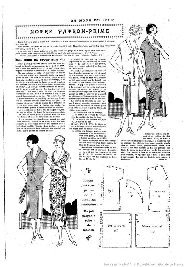 Mai 1925 Costume de tennis La Mode du jour
