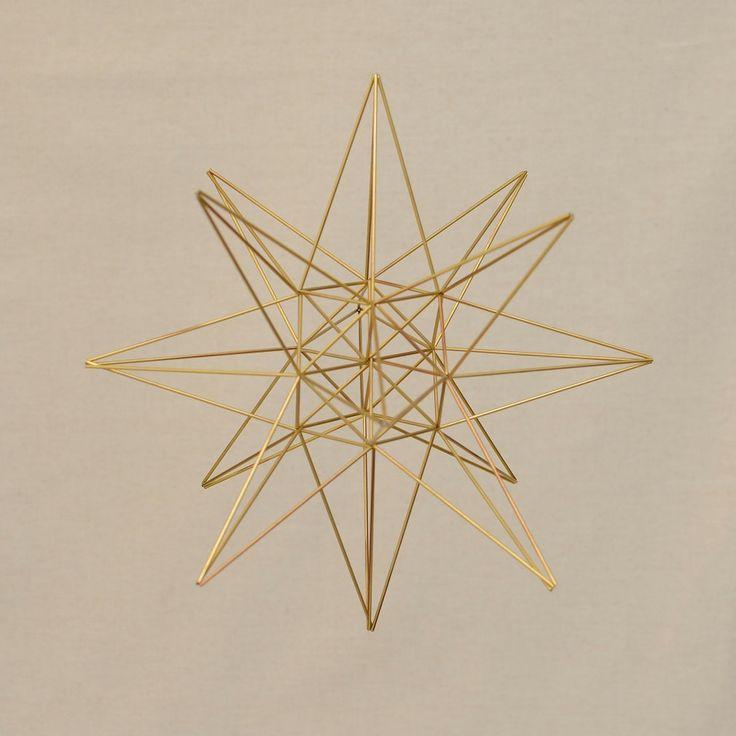 Heart STAR or Starting Point Himmeli, Hanging Mobile Brass Sacred Geometry Home Decor
