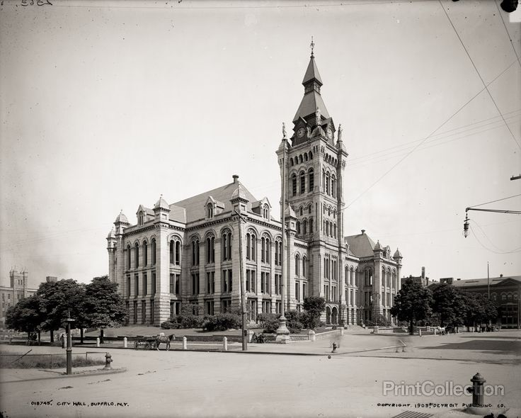 This was City Hall, in Buffalo, N.Y. when photographed by the Detroit Publishing Company in 1905 on 8x10 glass plate negative. But now it is the seat of Erie County government.