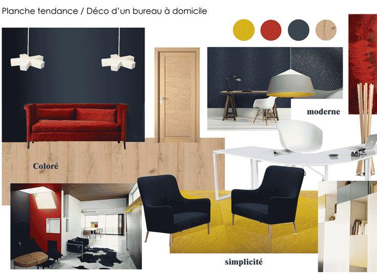 bureau à domicile boisé, moderne et simple aux couleurs jaune, rouge et bleu nuit