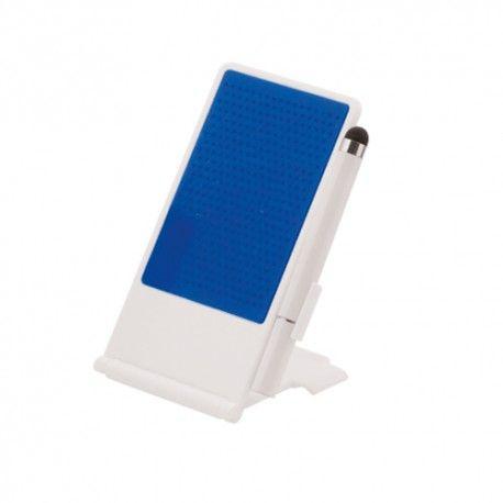 Soporte para móvil con superficie adherente. Incluye bolígrafo con puntero.
