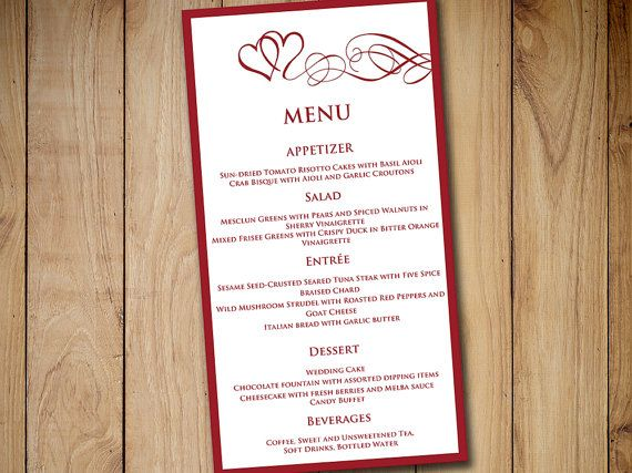 "Heart Wedding Menu Card Template - Wedding Reception Menu - Burgundy Red ""Heart Swirls"" Menu Printable Download - Valentine Wedding Menu by PaintTheDayDesigns"