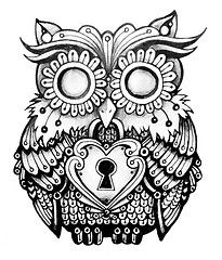 Antique+Keyhole+Drawing | ... ink vintage pattern heart drawing lock feathers line owl