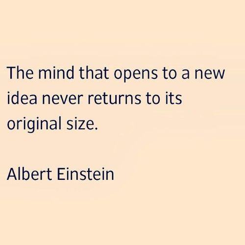 The mind that opens to a new idea never returns to its original size - Einstein