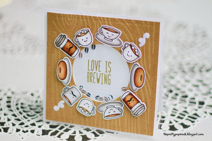 Lawn Fawn - Love You a Latte + coordinating dies, Milo's ABCs _ adorable shaker card by Tracy at Pretty Paper Ink: Lawn Fawn // Love is Brewing Shaker Card