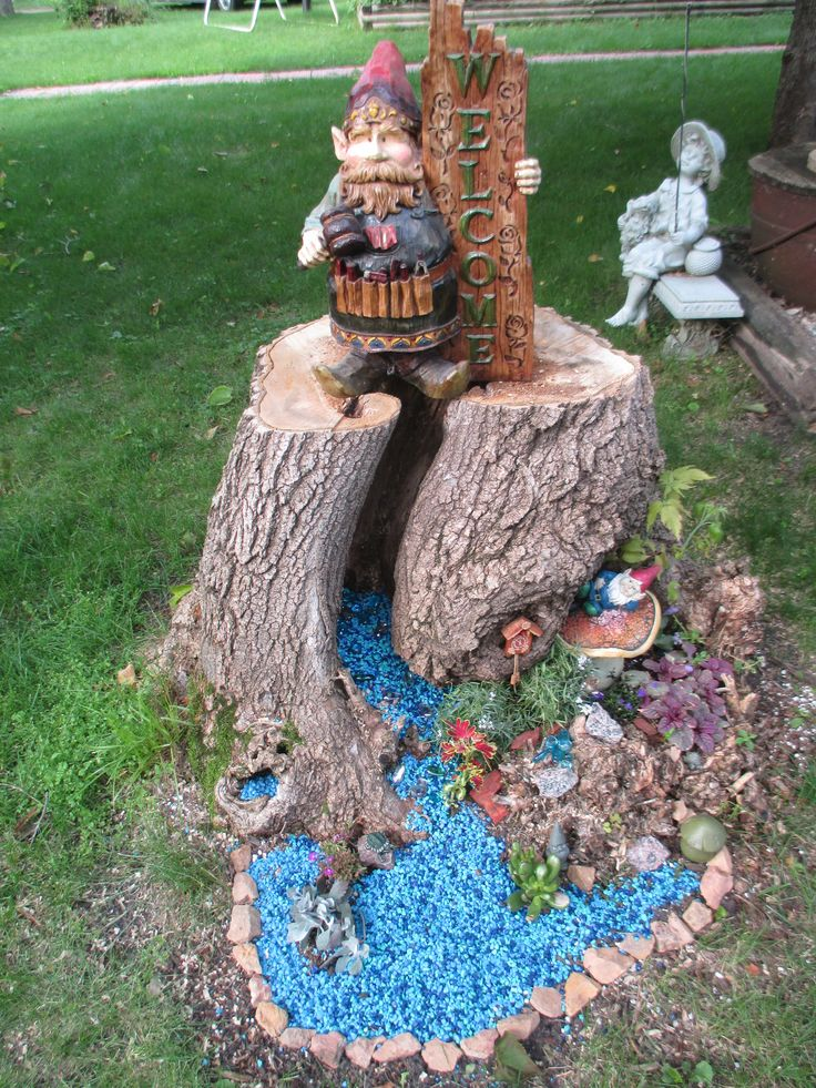 tree stump gnome garden