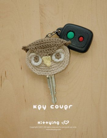 Owl Key Cover Crochet PATTERN by Kittying.com / Mulu.us | This crochet pattern makes 6cm x 5.5cm end product. Adjust size by changing hook and yarn size. <3