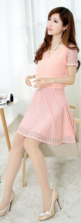 Chiffon Top Lace Skirt Crocheted Dress YRB0038