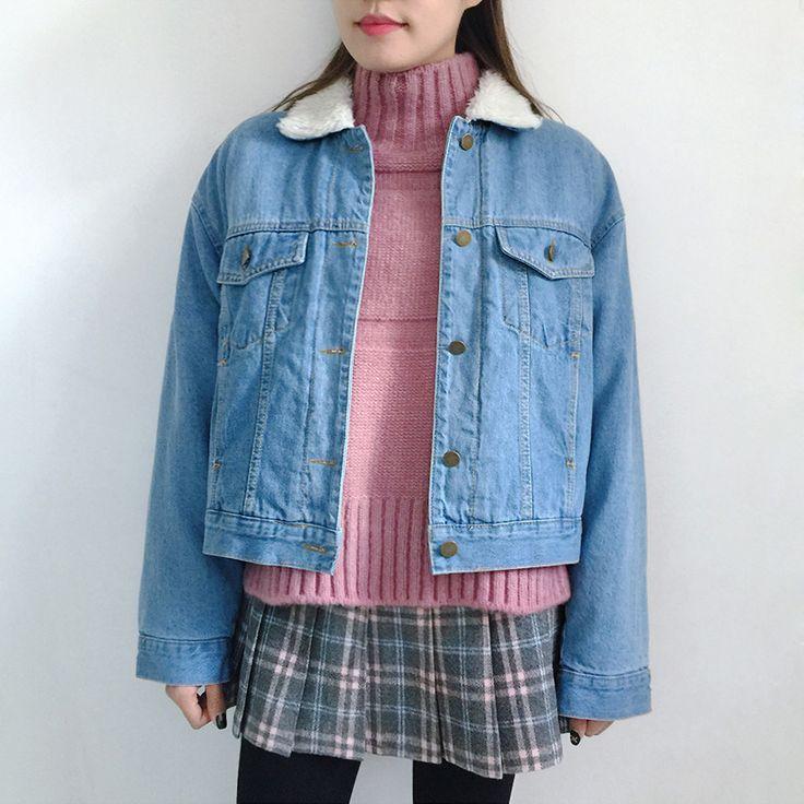 Check Skirt Pants | Knit Top | Lined Denim Jacket