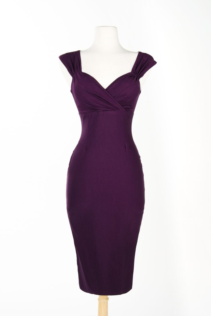 Pinup Couture Erin Wiggle Dress in Plum Stretch Bengaline. I think I'm in love!