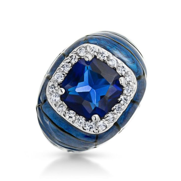 Plus Size Jewelry Silver Blue Enamel CZ Sapphire Color Ring