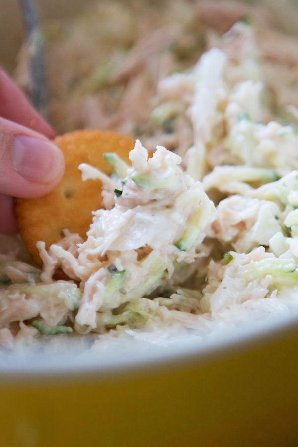Epic Chicken Salad....made with nonfat greek yogurt, chicken, and finely grated zucchini!! WHAT??? Omg, its so so good.