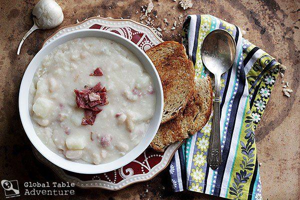 Slovak sour bean soup