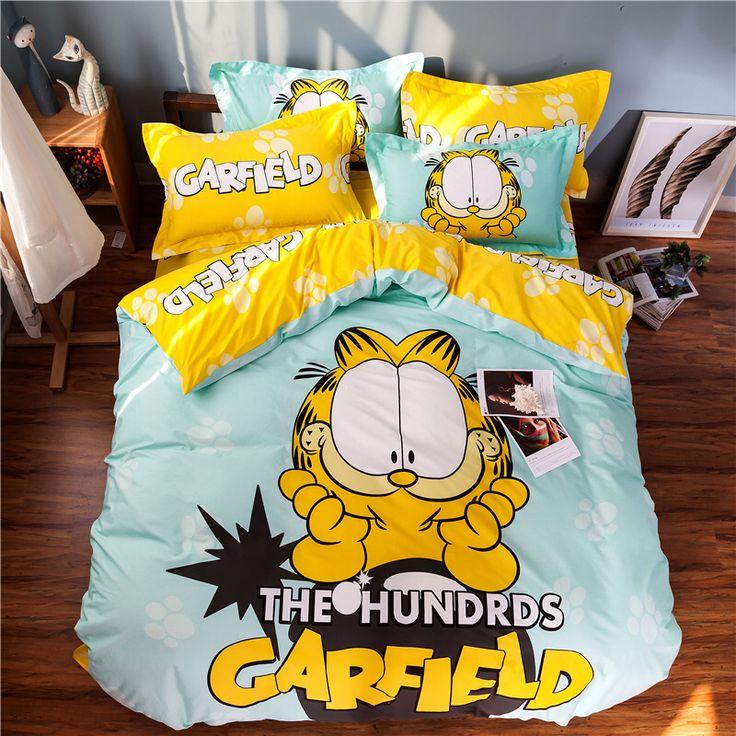 100% cotton the Garfield yellow 3pcs/4pcs bedding set cartoon style bedspread kids duvet cover set with pillow case flat sheet