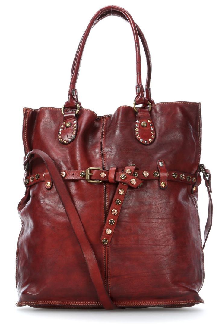 wardow.com - #campomaggi, Borchie Con Fiore Shopper Leder bordeaux 42 cm
