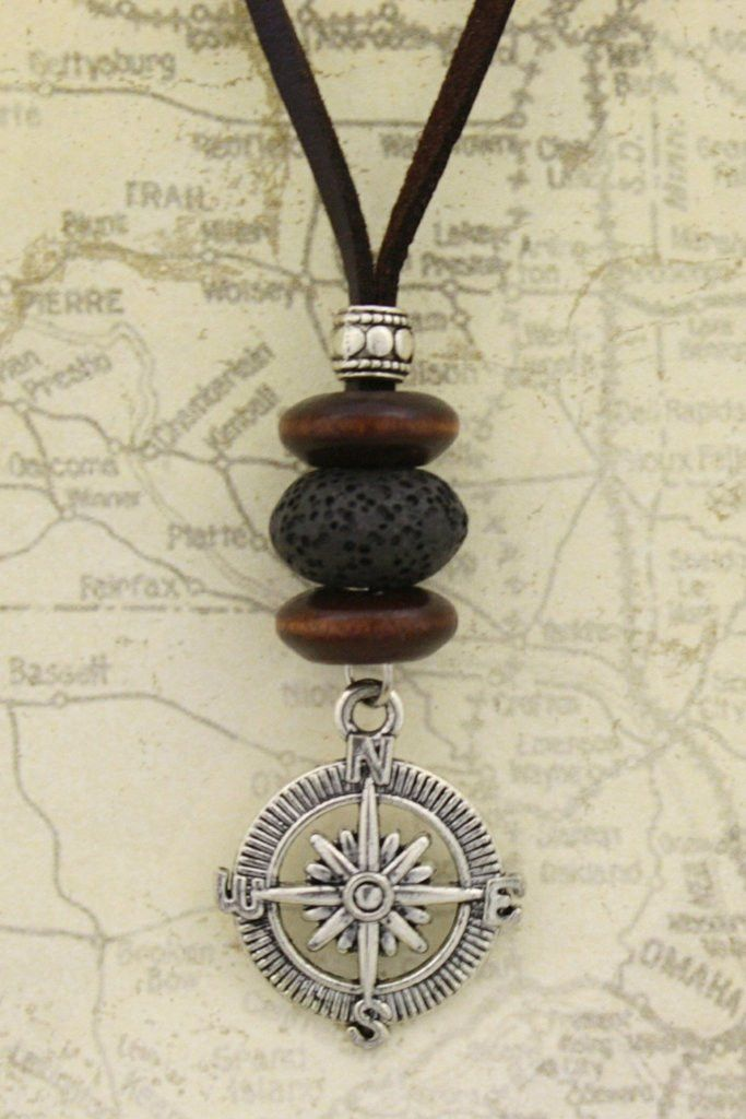 This is truly unique necklace! Antique silver pendant compass gives great proportions to the wooden beads and lava stone part of this necklace. This diffuser necklace is very comfortable to wear with