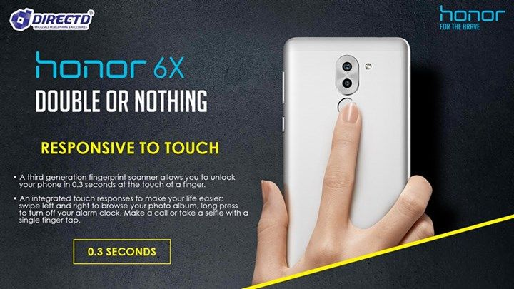 HONOR 6X - DOUBLE or NOTHING ! FOR THE BRAVE  Available for pre-order SOON! Stay tuned for the next update!  Key Features: 5.5' Full HD Display, Octa-core 16NM CPU, 12MP dual rear camera,8MP front camera, SD slot up to 256GB,Fingerprint sensor(0.3 seconds