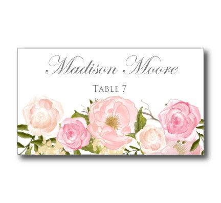 Printable Wedding Place Cards - Romantic Floral Wedding Place Cards - Rustic Wedding - Vintage Wedding - INSTANT DOWNLOAD - Microsoft Word