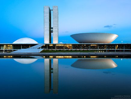 Night photography of Brasilia, Brazil by fine art photographer Andrew Prokos featured in Israeli news site Mako - andrewprokos.com