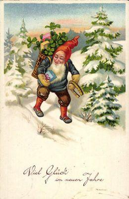 Neujahrskarte mit Zwerg im Schnee