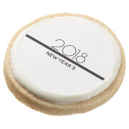 Minimalist New Years Celebration | Round Shortbread Cookie - black and white gifts unique special b&w style