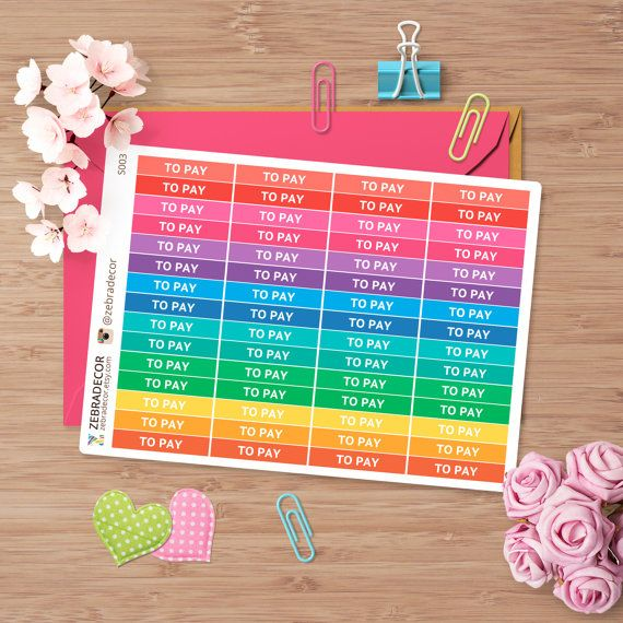 Planner Stickers To Pay  Planner Stickers for Erin от ZebraDecor