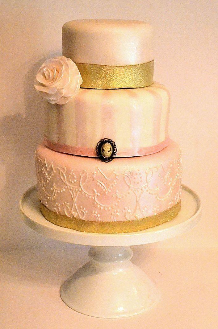 Pink And Gold Vintage Antique Victorian Wedding Shower Cake Cameo Cake Elegant Cake Cameo Cakejacksonville Floridaelegant