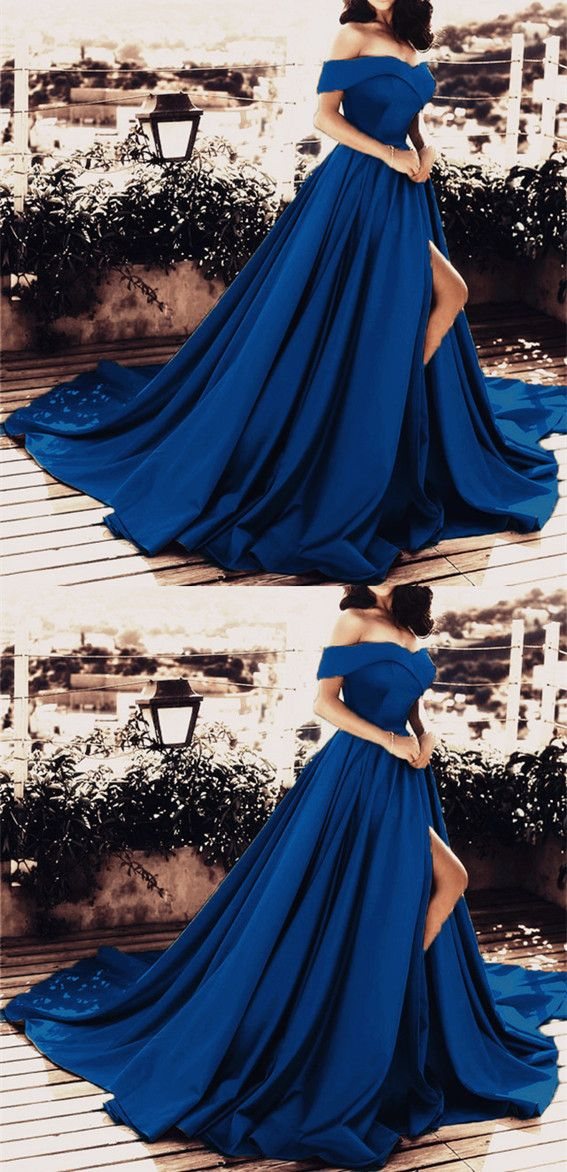 d0273a9900 Navy Blue Prom Dresses 2019 New Arrivals Off Shoulder Evening Gowns With  Split